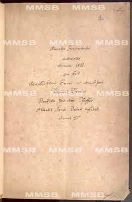Annales Strahovienses 1820-1842