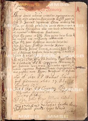 Mortuarium ecclesiae Montis Sion Pragensis, vulgo Strahov - pars I