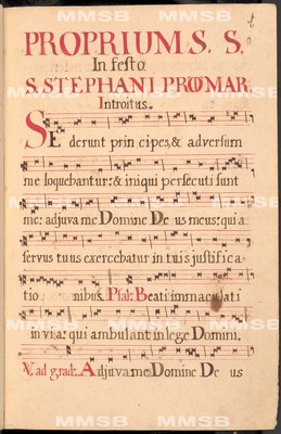 Graduale de proprio et communi Sanctorum. Descriptum in ... Monasterio Rayhradensi O.S.B. Anno 1721