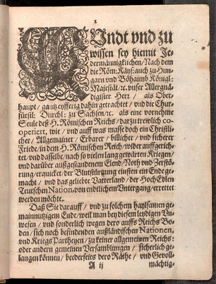 FriedensPuncten, so zwischen der röm. keys. Majest. und der churf. Durchleucht. zu Sachsen, unseren allergnädigsten und gnädigsten Herren den 30 (20) May dieses 1635 Jahrs in der königl. Hauptstadt Prag geschlossen und publicirt worden