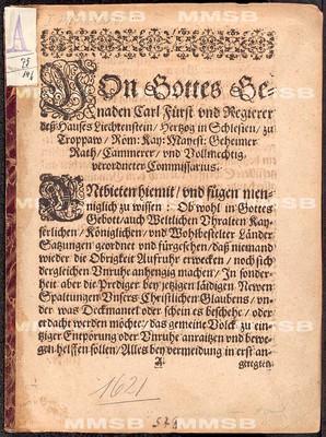 Patent Carls von Liechtenstein, geben Prag, den 13. 12. 1621