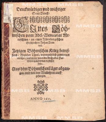 Denckwürdiger und wichtiger SendBrieff ... an einen nürnbergischen Geschlechter Johan Trauten