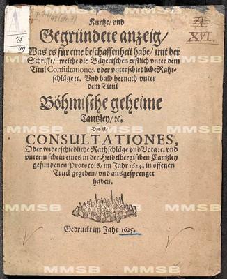 Kurtze und gegründete Anzeig, was es für eine Beschaffenheit habe mit der Schrifft, welche die bäyerischen erstlich unter dem Titul Consultationes oder unterschiedliche Rahtschläge etc. ... gegeben und ausgesprenget haben