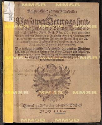 Religionsfried güldene Reichsbulla, das ist Passawer Vertrags summarischer Inhalt und Bestetigung