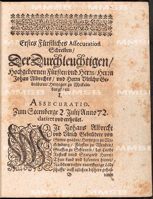 Assecuration und andere Reverse de annis 1572 und 1621 von den regierenden Hertzogen zu Meckelnburg