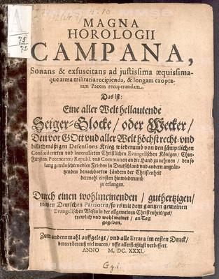 Magna horologii campana ... Das ist eine aller Welt hellautende Seiger-Glocke oder Wecker