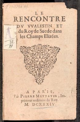 Le Rencontre de Walestin et de Roy de Suede dans les Champs Elizées