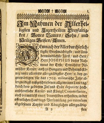 Articuln dess allgemeinen Landtag-Schlusses, so ... den 7. Novembris, anno 1707. proponiret, und den 20. Octobris gegenwärtigen 1708. Jahres ... von allen vier Ständen dieses Königreichs Böheimb geschlossen worden