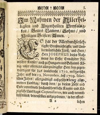 Articuln dess allgemeinen Landtag-Schlusses, so ... den 12. Novembris, anno 1709 proponiret, und den 30. Monaths-Tag Maii, anno 1710 ... von allen vier Ständen dieses Königreichs Böheimb geschlossen worden
