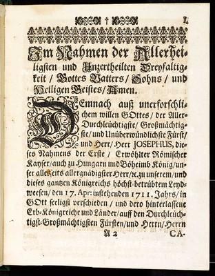 Articuln dess allgemeinen Landtag-Schlusses, so ... den 12. Monaths-Tag Novembris, anno 1710. proponiret und den 3. Septembris, anno 1711 ... von allen vier Ständen dieses Königreichs geschlossen und publiciret worden