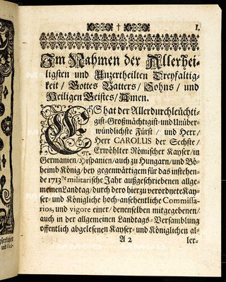 Articuln dess allgemeinen Landtag-Schlusses, so ... den 9. Monaths-Tag Decembris, anno 1712. proponiret, und den 5. Septembris, anno 1713 ... von allen vier Ständen dieses Königreichs Böheimb geschlossen, wie auch publiciret worden