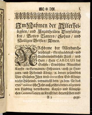 Articulen des allgemeinen Landtag-Schlusses, so ... den 20. Novembris, anno 1715 proponiret, und den 15. Aprilis, anno 1717 ... von allen vier Ständen dieses Königreichs Böheimb geschlossen, wie auch publiciret worden