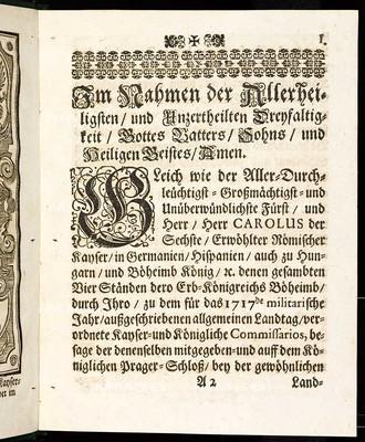 Articulen des allgemeinen Landtag-Schlusses, so ... den 9. Decembris, anno 1716. proponiret und den 23. Julii, anno 1717 ... von allen vier Ständen dieses Königreichs Böheimb geschlossen, wie auch publiciret worden