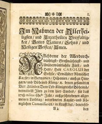 Articuln des allgemeinen Landtag-Schlusses, so ... den 5. Novembris, anno 1717 proponiret und den 12. Maii, anno 1718 ... von allen vier Ständen dieses Königreichs Böheimb geschlossen und publiciret worden