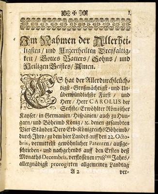 Articuln des allgemeinen Landtag-Schlusses so ... den 1. Decembris, anno 1718. proponiret und den 26. Septembris, anno 1719 ... von allen vier Ständen dieses Königreichs Böheimb geschlossen wie auch publiciret worden