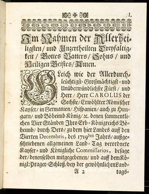 Articuln des allgemeinen Landtag-Schlusses, so ... den 4. Decembris, anno 1719 ... proponiret und den 7. Januarii, 1721 ... von allen vier Ständen dieses Königreichs Böheimb geschlossen, wie auch publiciret worden