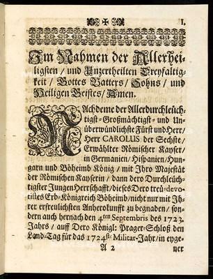 Articulen des allgemeinen Landtag-Schlusses so ... den 4. Septembris des 1723. Jahrs ... eröffnet und den 15. Maii instehenden 1724 Jahrs ... von allen vier Ständen dieses Königreichs Böheimb beschlossen und publiciret worden