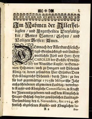 Articulen des allgemeinen Landtag-Schlusses, so ... den 6. Novembris des 1724. Jahrs proponiret und den 13. Augusti, an. 1725 ... von allen vier Ständen dieses Königreichs Böheimb geschlossen und publiciret worden