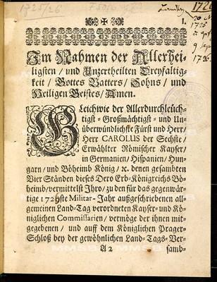 [Articulen des allgemeinen Landtag-Schlusses 1725-1726]