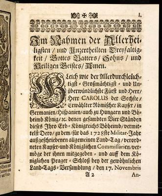 Articulen des allgemeinen Landtag-Schlusses, so ... den 17. Nov. 1727 proponiret und den 2. Decembris, anno 1728 ... von allen vier Ständen dieses Königreichs Böheimb geschlossen, wie auch publiciret worden