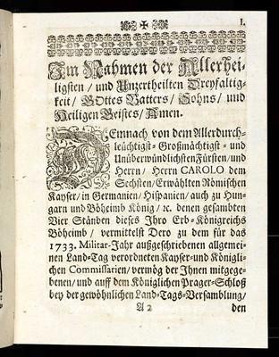 Articulen des allgemeinen Land-Tag-Schlusses, so ... den 2. Decembris anno 1732 proponiret und den 6. Novembris anno 1733 ... von allen vier Ständen dieses Königreichs Böheimb geschlossen und publiciret worden