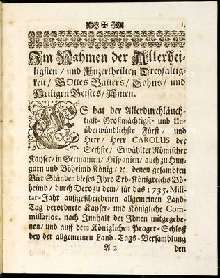 Articulen des allgemeinen Land-Tag-Schlusses, so ... den 9. Decembris anno 1734. proponiret, und den 6. Septembris anno 1735 ... von allen vier Ständen dieses Königreichs Böheimb geschlossen und publiciret worden