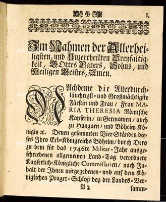 Articulen des allgemeinen Land-Tag-Schlusses, so ... den 22ten Monats-Tag Novembris 1745. proponiret, und den 17. besagten Monats Novembris des darauf gefolgten 1746ten Jahrs ... von allen vier Ständen dieses Königreichs geschlossen und publiciret worden