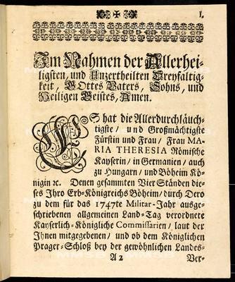 Articulen des allgemeinen Land-Tag-Schlusses, so ... den 21ten Monats-Tag Novembris 1746 proponiret und den 19. Octobris 1747 ... von allen vier Ständen dieses Königreichs Böheim geschlossen und publiciret worden