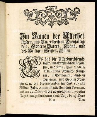 Articulen des allgemeinen Land-Tag-Schlusses, so ... den 22. Monats-Tag Octobris 1753 ... proponirt, so dann ... den 5. September 1754 von allen vier Ständen geschlossen und publiciret worden