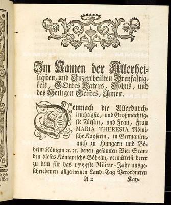 Articulen des allgemeinen Land-Tag-Schlusses, so ... den 26. Monats-Tag Novembris des 1754 Jahres ... proponiret, und so dann den 30. Octobris 1755 von allen vier Ständen geschlossen worden