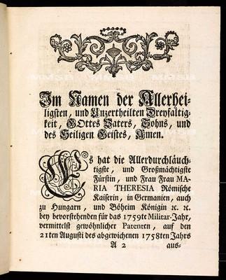Artikulen des allgemeinen Land-Tag-Schlusses, so ... den 21ten Augusti des 1758ten Jahrs proponirt, und den 6ten gegenwärtigen Monats-Tag Septembris ... von allen vier Ständen dieses Königreichs Böheim geschlossen und publiciret worden
