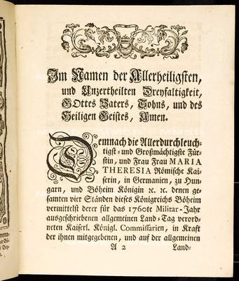 Artickulen des allgemeinen Land-Tag-Schlusses, so ... den 24. Monatstag Sept. 1759 proponiret, und den 1 Monats-Tag Sept. 1760 ... von allen vier Ständen dieses Königreichs Böheim geschlossen und publiciret worden