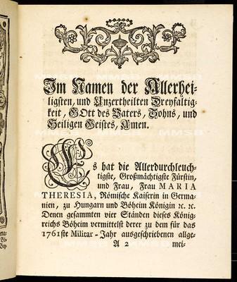 Artickulen des allgemeinen Land-Tag-Schlusses, so ... den 27. Octobris des 1760 ... proponiret, und sodann den 15ten Sept. 1761 von allen vier Ständen geschlossen worden