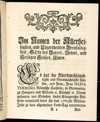 Artickuln des allgemeinen Land-Tag Schlusses, so ... den 4ten Monats-Tag Augusti abgewichenen 1762ste Jahrs proponiret, und den 17ten Augusti 1763 ... von allen vier Ständen dieses Königreichs Böheim geschlossen und publiciret worden