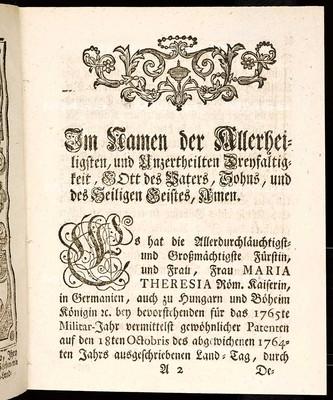 Artickulen des allgemeinen Land-Tag-Schlusses, so ... den 18ten Monats-Tag Octobris 1764 ... proponiret, sodann von allen vier Ständen dieses Königreichs Böheims geschlossen, und den 21. Octob. 1765 publiciret worden
