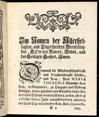 Artickulen des allgemeinen Land-Tag-Schlusses, so ... den 10ten Monats-Tag Octobris 1765 ... proponiret, sodann von allen vier Ständen dieses Königreichs Böheims geschlossen und den 23. Sept. 1766 publiciret worden