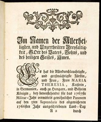 Artickulen des allgemeinen Land-Tag-Schlusses, so ... den 15ten Monats-Tag Septembris 1766 Jahrs proponiret, und den 12. gegenwärtigen Monats-Tag Octobris 1767 ... von allen vier Ständen dieses Königreichs Böheims geschlossen, und publiciret worden