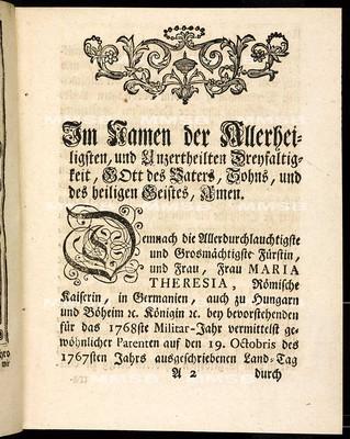 Artickulen des allgemeinen Land-Tag-Schlusses, so ... den 19ten Monats-Tag Octobris 1767 ... proponiret, sodann von allen vier Ständen dieses Königreichs Böheim geschlossen, und den 10. Sept. 1768. publiciret worden