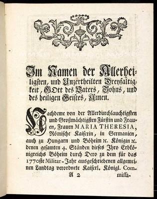 Artickulen des allgemeinen Land-Tag-Schlusses, so ... den 25. Septembris 1769. proponiret, und den 4. Octobris anno 1770 ... von allen vier Ständen dieses Königreichs Böheim geschlossen und publiciret worden