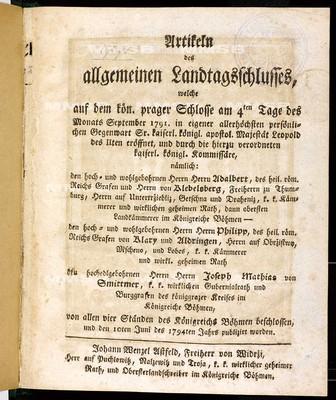 Artikeln des allgemeinen Landtagsschlusses 1791-1794 - Článkové všeobecného sněmovního snešení 1791-1794