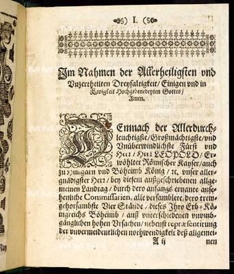 Articul dess allgemeinen Landtags, so ... den 10. Monaths-Tag Martii gehalten und den 5. Monathstag Maii instehenden 1667. Jahrs ... von allen Ständen dieses Königreichs Böheimb geschlossen worden