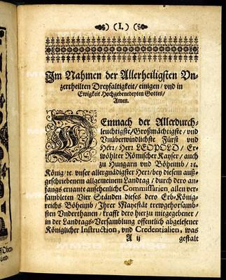 Articul dess allgemeinen Landtags, so ... den 9. Monathstag Martii gehalten und den 8. Monathstag Iulii instehenden 1671. Jahrs ... von allen Ständen dieses Königreichs Böheimb geschlossen worden