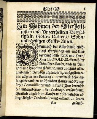 Articuln dess allgemainen Landtag-Schlusses, so ... den 3. Januarii inlebenden 1701. Jahrs gehalten, und den 9. Augusti darauff ... von allen vier Ständen dieses Königreichs Böheimb geschlossen worden