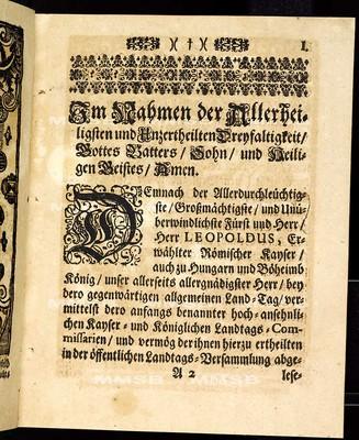 Articuln dess allgemeinen Landtag-Schlusses, so ... den 22. Monaths-Tag Januarii gegenwärtigen 1704. Jahres proponiret und den 10. Octobris erst-gemeldten 1704. Jahres ... von allen vier Ständen dieses Königreichs geschlossen und publiciret worden