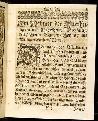 Articulen des allgemeinen Landtag-Schlusses, so ... den 9. Januarii proponiret und den 4. Septembris, anno 1721 ... von allen vier Ständen dieses Königreichs Böheimb geschlossen wie auch publiciret worden