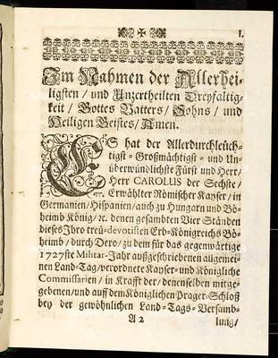 Articulen des allgemeinen Landtag-Schlusses, so ... den 9. Januarii 1727 ... proponiret, folgbahr den zehenden Novembris obgedachten 1727sten Jahrs ... von allen vier Ständen dieses Königreichs Böheimb geschlossen und publiciret worden