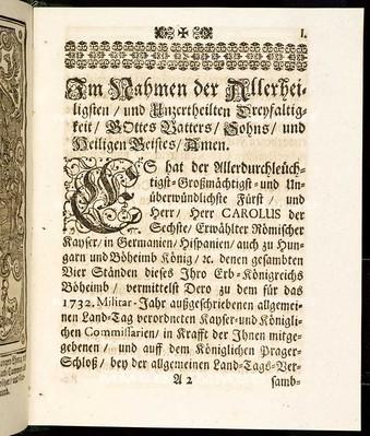 Articulen des allgemeinen Land-Tag-Schlusses, so ... den 7. Januarii proponiret, und den 13. Novembris anno 1732 ... von allen vier Ständen dieses Königreichs Böheimb geschlossen und publiciret worden