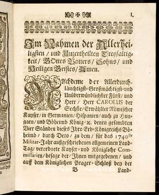 Articulen des allgemeinen Land-Tag-Schlusses, so ... den 18. Monaths-Tag Januarii 1740. proponiret und den 17. Novembris ejusdem anni ... von allen vier Ständen dieses Königreichs geschlossen und publiciret worden