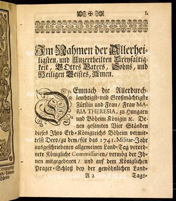 Articulen des allgemeinen Land-Tag-Schlusses, so ... den 6. Februarii 1741 proponiret, und den 7. Septembris ejusdem anni ... von allen vier Ständen dieses Königreichs geschlossen und publiciret worden