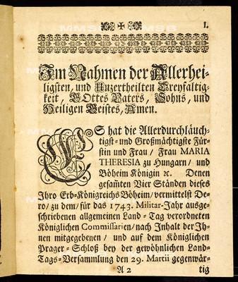 Articulen des allgemeinen Land-Tag-Schlusses, so ... den 29ten Monats-Tag Martii 1743. proponiret, und den 12. Decembris ejusdem anni ... von allen vier Ständen dieses Königreichs geschlossen und publiciret worden